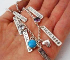 Mothers day gift silver charm bracelet personalized customized
