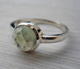 Prehnite ring rose cut prehnite ring pale green gemstone ring silver ring