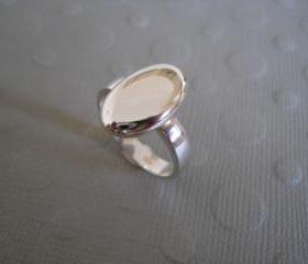 oval silver top ring