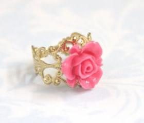 Pink flower adjustable ring with filigree accessories gold plated