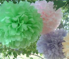 Party decorations. tissue paper pom poms