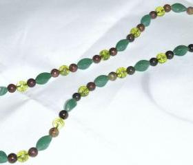 Peridot Aventurine Obsidian Necklace handmade