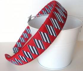 Striped Patriotic Headband: one inch wide headband made from red and navy/white striped ribbon 