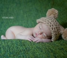 Double Pom Jester Baby Hat - Photo Prop