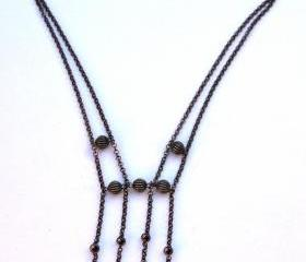 Delicate Black/Gunmetal Chain Necklace by Kashmira Patel