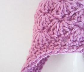 Baby Girl Shell Earflap Hat - Newborn Photo Prop