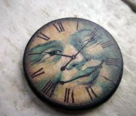 Clock Ephemera 1.5 inch Pendant. Blue face. Custom drilled or metal bail. Clock pendant. Wood tile. Bead. Pendant. Art tile.