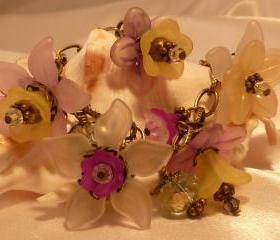 Lucite Flower Bracelet, Garden Flower Charm Bracelet & Earrings, Purple, Yellow, Antique Brass, Swarovski Crystal