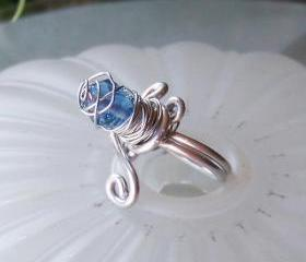 Blue Wire Wrapped Ring - size 6 adjustable