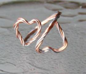 Cuff Ring - Double Hearts Wire Wrap in Two Tone - Copper and Silvertone