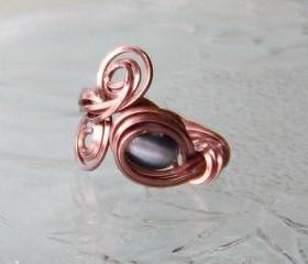 Ring size 4 adjustable - Wire Wrapped OOAK Art Ring Twisted Copper