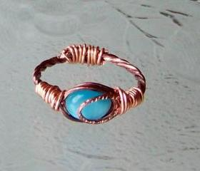 Ring size 7.5 - Copper Wire Wrapped OOAK Art Ring