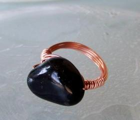 Ring size 7.5 - Twisted Copper Wire Wrapped OOAK Art Ring
