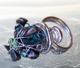 Cocktail Ring sz 8 - Wire Wrapped Aluminum with Black Stone and Blue fire polished glass