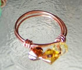 Ring sz 7 - Shades of Amber Beads and Copper Wire Wrapped OOAK Art Ring