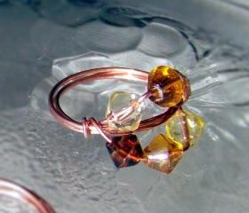 Ring sz 6.5 - Shades of Amber Beads and Copper Wire Wrapped OOAK Art Ring