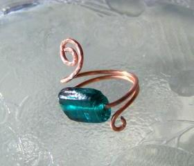Ring sz 8 adjustable - Teal Glass Bead and Copper Wire Wrapped OOAK Art Ring