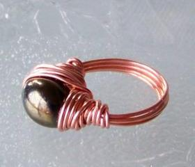 Ring sz 5 - Wire Wrapped Copper and Black Bead