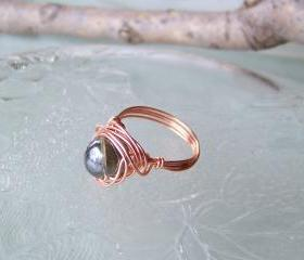 Ring sz 6 - Wire Wrapped Copper and Black Smokey Iridescent Bead