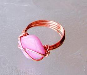 Ring sz 8 - Wire Wrapped Copper with Pink Square or Diamond Shaped Bead