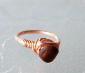 Ring sz 5.5 - Wire Wrapped Round, Square, Hammered Copper with Brown Sea Glass Bead