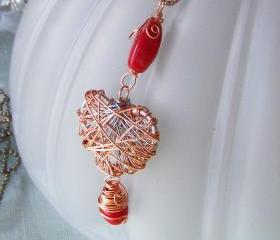Wire Wrapped Art Pendant Orange Bead Necklace