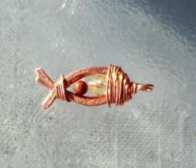 Copper Fish w/ Copper Wire Wrap - Art Pendant