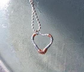Textured Silver Tone Heart Wire Wrap - Art Pendant Necklace