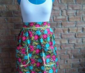 Half waist apron,Colorful hibiscus with yellow rick rack accent