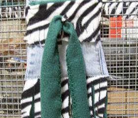 Cage and Bonding Bag POUCH for SMALL PETS - Denim, Green Fleece with Black and White Zebra Stripe patterned Fleece - 6x6 inches