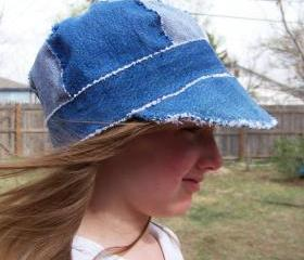 Sz. 23' Newsboy Cap Hat in Recycled Rag Denim