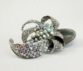 rhinestone flower brooch 'Fiore'
