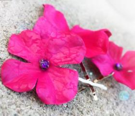 pink hydrangea bobbies, hydrangea hair clip, pink hair clip