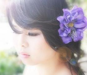 flower hair clip purple flower clip