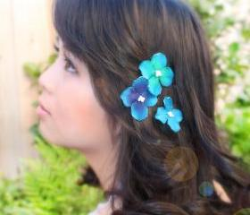 blue velvet hydrangea flower hair clip