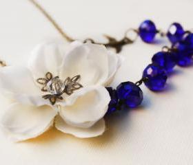 necklace cherry blossom, crystal necklace, holiday jewelry, under 50