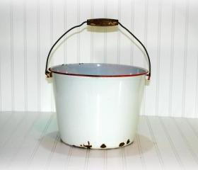 Vintage Enamel Bucket