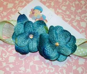 Cerulean Blue Baby Flower Headbands, Newborn Headbands, Baby Girl Headbands