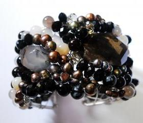 Beaded cuff bracelet made with Botswana agate gemstones, fresh water pearls and crystals