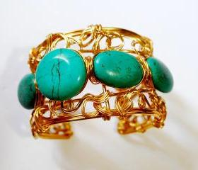 Wire wrapped cuff bracelet made with Turquoise gemstones