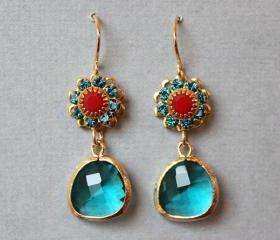 Teal Glass Floral Earrings