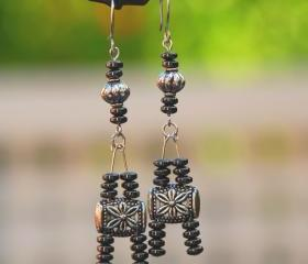 Silver and Gunmetal 'Eiffel Tower' Earrings by Kashmira Patel