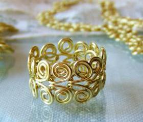Ring, Custom Size, Golden Brass Egyptian Swirl Link