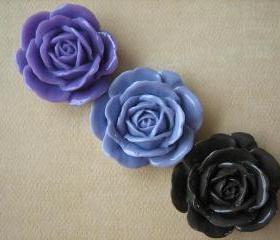 3PCS - Lilac, Lavender and Brown Rose Cabochons - 38mm - Shiny Finish - Cabochons by ZARDENIA