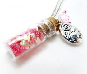 Jar of Hearts Necklace- Glitter Necklace-Bottle Necklace-Charm Necklace-Summer Necklace-Flower Necklace-Bottle Jewelry