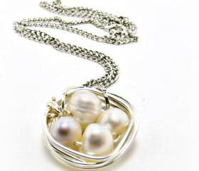 Bird Nest Neacklace- Freshwater Pearl Necklace- Bird Nest Jewelry-Summer Jewelry-Summer Necklace-Wire Wrapped necklace-pearl necklace-pearl jewelry