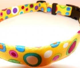 Yellow Dog Collar - Bright Colored Shapes Summertime, Springtime, SIZE XS 7-11""