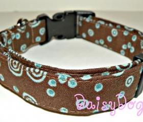 "Dog Collar - Brown & Blue, Adjustable XL (17-29"")"
