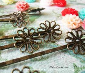 6 Filigree Bobby Pins Hair ornaments Antique Bronze, Flower 2x59x2mm