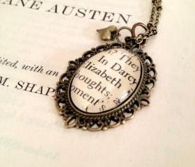 Elizabeth and Mr. Darcy Pride and Prejudice Book Page Necklace